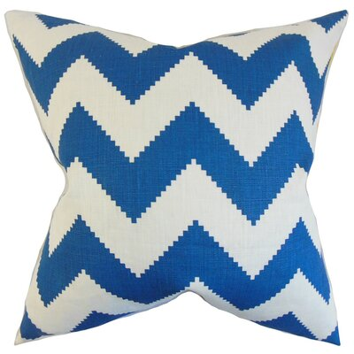 Buntin Zigzag Linen Throw Pillow Cover Color: Marine