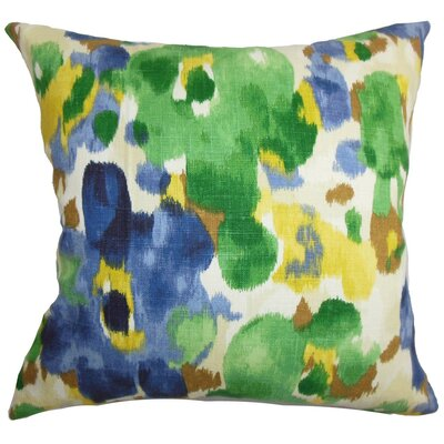 Delyne Floral Throw Pillow Cover Color: Green Blue