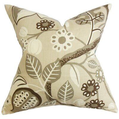 Ashville Floral Cotton Throw Pillow Cover Color: Brown