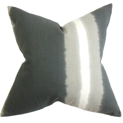 Britain Stripe Cotton Throw Pillow Cover Color: Gray