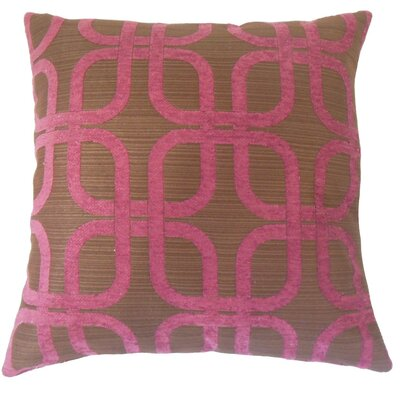 Bertille Geometric Cotton Throw Pillow Cover Color: Berry