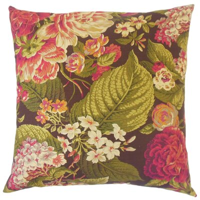 Kalonice Floral Cotton Throw Pillow Cover Color: Russet