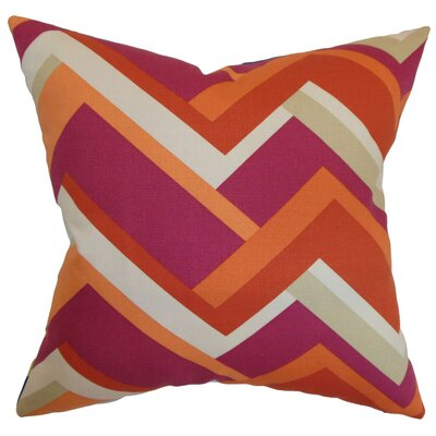 Hoonah Geometric Cotton Throw Pillow Cover Size: 20 x 20, Color: Mango