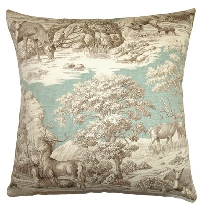 Feramin Toile Cotton Throw Pillow Cover Size: 20 x 20, Color: Aqua