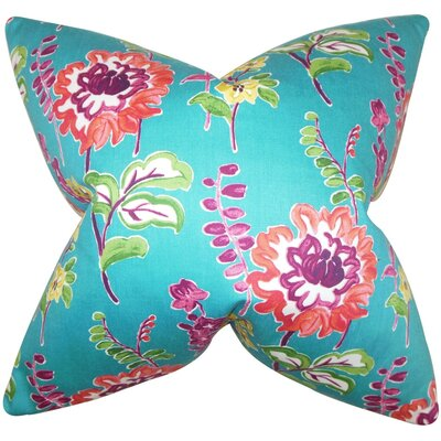 Haley Floral Cotton Throw Pillow Cover Color: Peacock