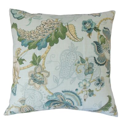 Lieve Floral Throw Pillow Cover Color: Aqua Green