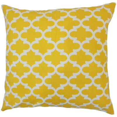 Benoite Geometric Cotton Throw Pillow Cover Color: Yellow