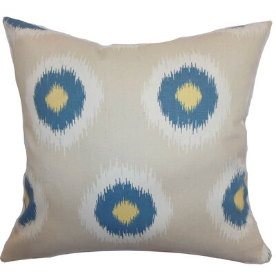 Burkart Ikat Throw Pillow Cover Color: Denim Natural