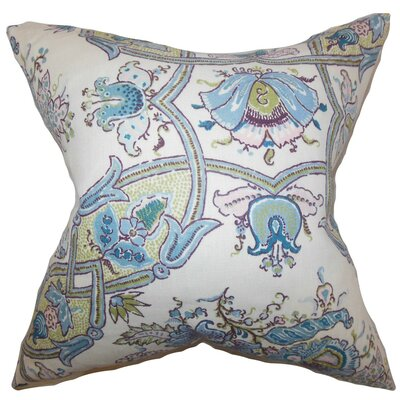 Laelia Floral Linen Throw Pillow Cover Color: Lapis