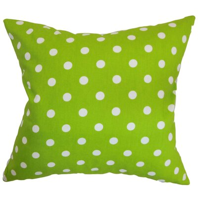 Nancy Polka Dots Throw Pillow Cover Color: Chartreuse White