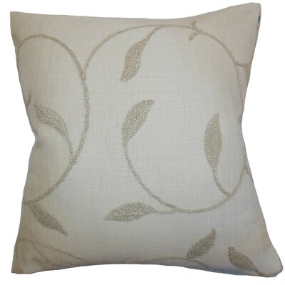 Delyth Floral Cotton Throw Pillow Cover Color: Linen
