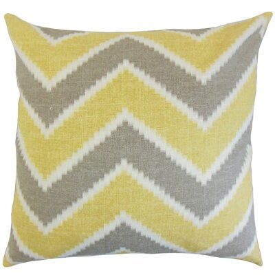 Hoku Zigzag Linen Throw Pillow Cover Color: Chamois