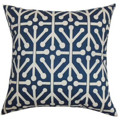Heath Geometric Cotton Throw Pillow Cover Color: Blue Natural