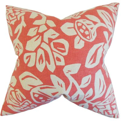 Izzy Foral Cotton Throw Pillow Cover Color: Coral