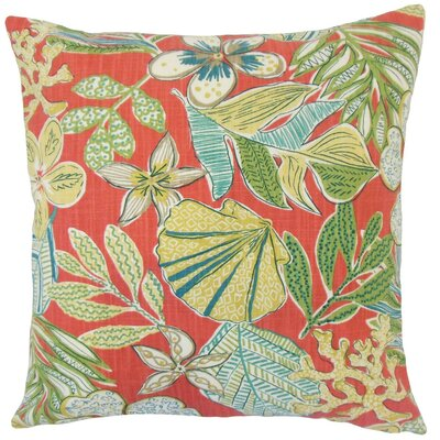 Felice Floral Cotton Throw Pillow Cover Color: Coral