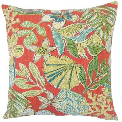 Felice Floral Cotton Throw Pillow Cover Color: Coral