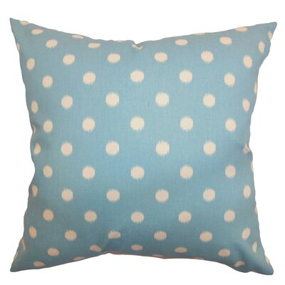 Rennice Ikat Dots Throw Pillow Cover Color: Soft Blue Natural