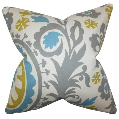 Wella Floral Throw Pillow Cover Color: Gray Blue