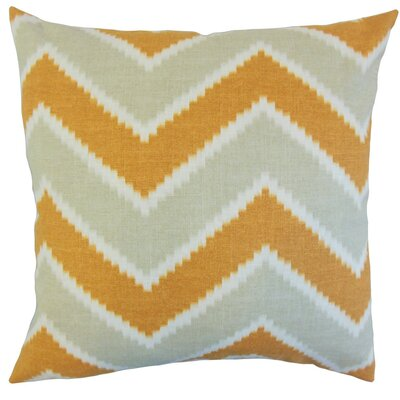 Hoku Zigzag Linen Throw Pillow Cover Color: Papaya