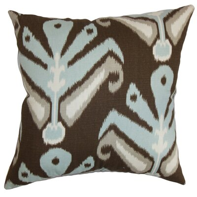 Sakon Ikat Cotton Throw Pillow Cover Size: 18 x 18, Color: Aqua Cocoa