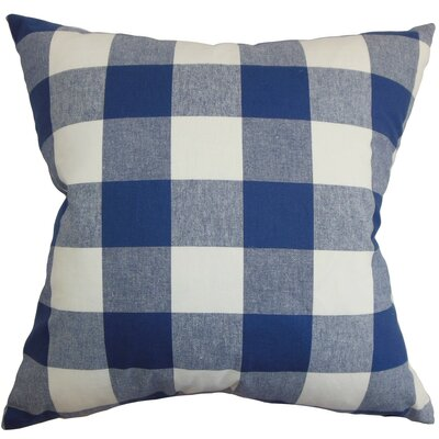 Vedette Plaid Cotton Throw Pillow Cover Size: 18 x 18, Color: Natural Blue