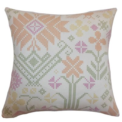 Dori Cross Stitch Cotton Throw Pillow Cover Size: 18 x 18