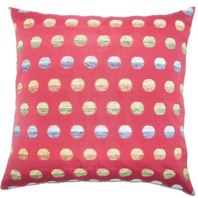 Vlora Polka Dots Throw Pillow Cover Color: Red