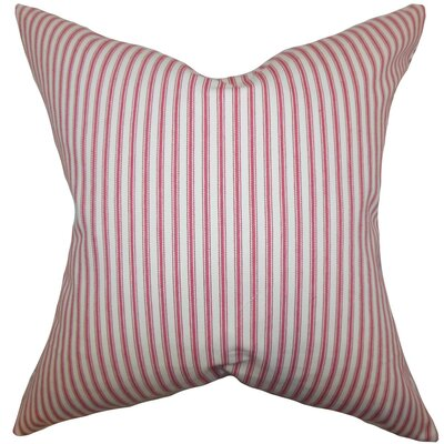 Ferebee Stripes Cotton Throw Pillow Cover Size: 18 x 18, Color: American Beauty