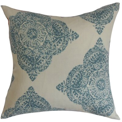 Daganya Damask Cotton Throw Pillow Cover Size: 18 x 18, Color: Indigo