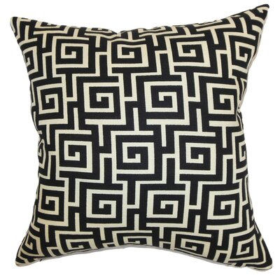 Warder Geometric Cotton Throw Pillow Cover Color: Black Creme