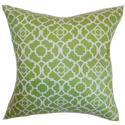 Kalmara Geometric Cotton Throw Pillow Cover Color: Green