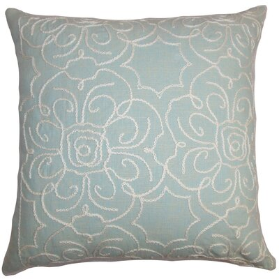 Pam Floral Throw Pillow Cover Size: 18 x 18, Color: Aqua