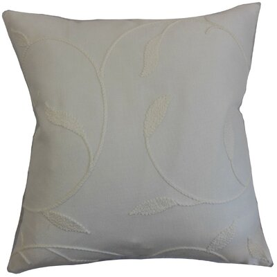 Delyth Floral Cotton Throw Pillow Cover Color: Pearl