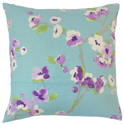 Dashania Floral Linen Throw Pillow Cover Color: Turquoise
