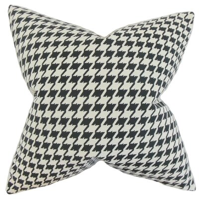 Presley Houndstooth Throw Pillow Cover Color: Black