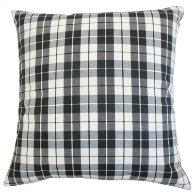 Joss Plaid Cotton Throw Pillow Cover Color: Red