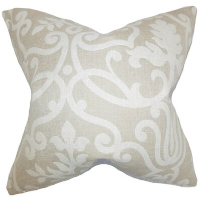 Milledgeville Floral Cotton Throw Pillow Cover Color: Linen