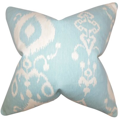 Katti Ikat Cotton Throw Pillow Cover Color: Blue