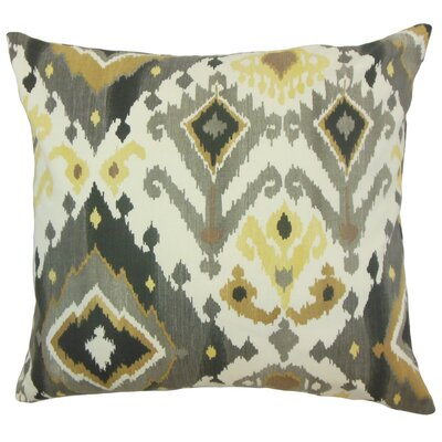 Qortni Ikat Cotton Throw Pillow Cover Color: Black Camel