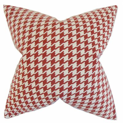 Presley Houndstooth Throw Pillow Cover Color: Red