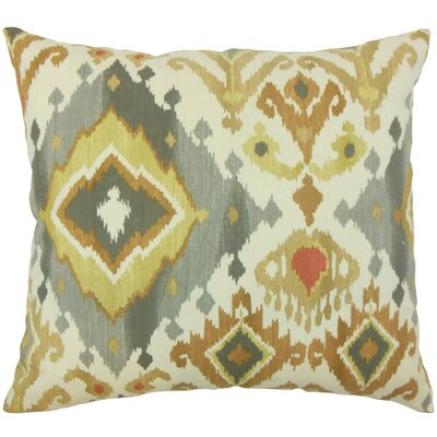 Qortni Ikat Cotton Throw Pillow Cover Color: Amber