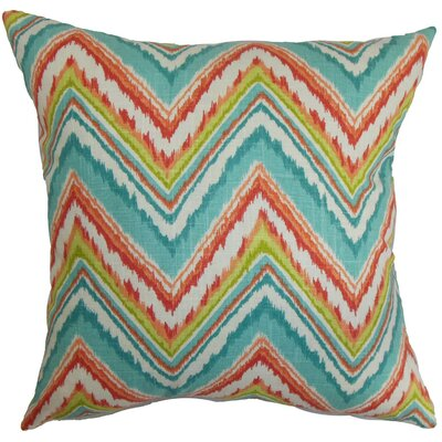 Dayana Zigzag Cotton Throw Pillow Cover Color: Teal Red