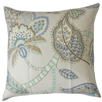 Mazatl Floral Linen Throw Pillow Cover Color: Aqua Cocoa