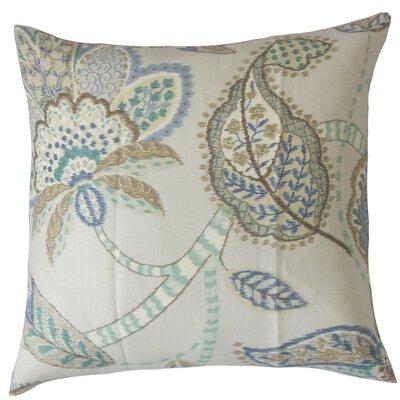 Mazatl Floral Linen Throw Pillow Cover Color: Aqua Cocoa