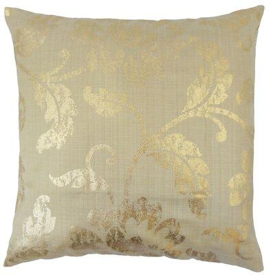 Berdine Floral Throw Pillow Cover Color: Gold