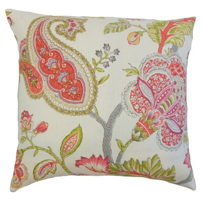 Janne Floral Linen Throw Pillow Size: 18 x 18
