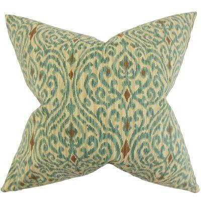 Ennis Ikat Cotton Throw Pillow Cover Color: Aqua Cocoa