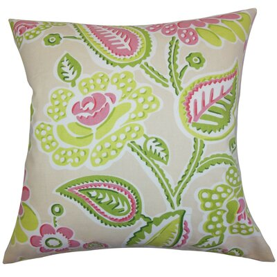 Mare Floral Cotton Throw Pillow Cover