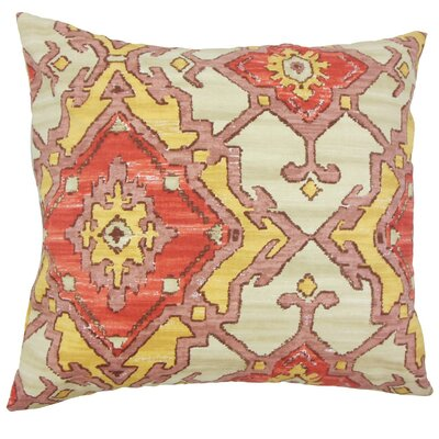 Helia Ikat Cotton Throw Pillow Cover Color: Currant