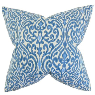 Ennis Ikat Cotton Throw Pillow Cover Color: Blue